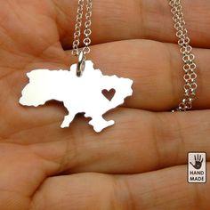 I Heart UKRAINE solid sterlin silver, sterling silver chain, custom heart. $45.00, via Etsy.