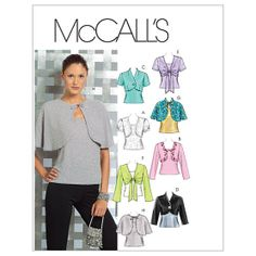Misses' Lined and Unlined Shrugs and Lined Capelets and Top-AAX (4-6-8-10) Pattern, , hi-res