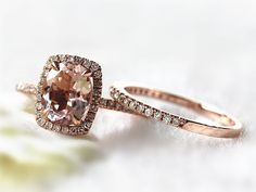 14K Rose Gold 7x9mm Oval Pink-Peach Morganite Engagement Ring Diamond Halo Wedding Ring Set Morganite RIng set Wedding Rings Bridal Set