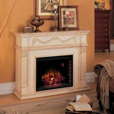 Gossamer Antique Ivory Electric Fireplace | Looking forward to having this in my living room!!