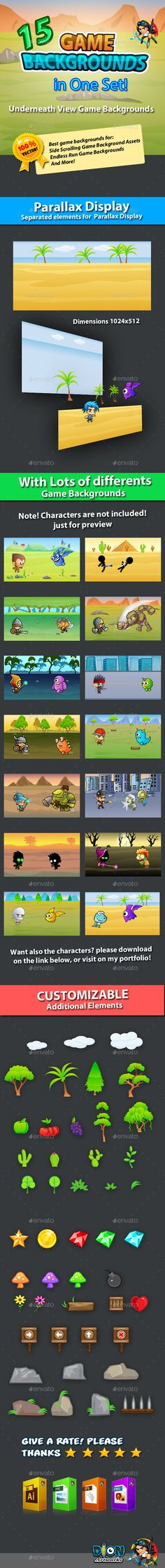 Buy 15 Underneath Game Backgrounds in One Set by pasilan on GraphicRiver. Game Backgrounds your mobile game assets This assets is for developers who want to create their mobile game apps for. Magazine Design, Game Design, Layout Design, Android Animation, Free Game Assets, Pixel Art Games, Game Background, Game Icon, Game App