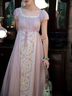Regency Dress, Regency Era, Striped Maxi Dresses, Pink Maxi, Lace Dresses, Moda Boho, Period Outfit, Halloween Dress, Costume Dress