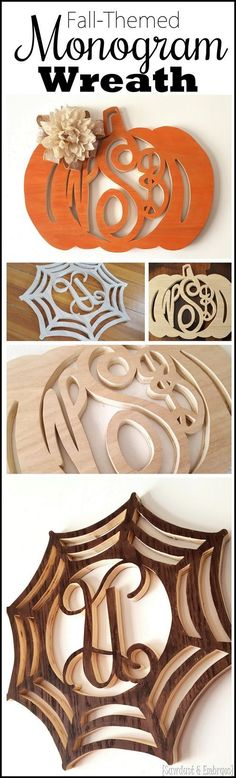 Fall-Themed Monogram Wreaths Make your own Fall-Themed Monogram Wreath out of wood. using a scroll saw or jigsaw! {Sawdust and Embryos}Make your own Fall-Themed Monogram Wreath out of wood. using a scroll saw or jigsaw! {Sawdust and Embryos} Router Projects, Dremel Projects, Cool Woodworking Projects, Wooden Projects, Wooden Crafts, Teds Woodworking, Jig Saw Projects, Diy Jigsaw Projects, Auction Projects