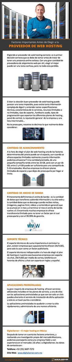 Características Para Elegir tu Web Hosting en México  -  Con una gran cantidad de empresa de web hosting en el mercado, y tomando la mejor decisión y diferentes factores como la IP mexicana, te presento a DigitalServer para mas detalles, visita http://www.digitalserver.com.mx