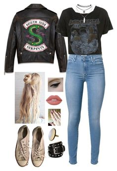 """""""[ Southside Serpent ]"""" by demiwitch-of-mischief ❤ liked on Polyvore featuring 7 For All Mankind, Lime Crime, Wet Seal, Converse and Barbara Bui"""