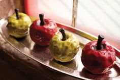 """This chartreuse ceramic apple will make the perfect teacher's gift. Product Description • Product Dimensions: 6"""" • Material: Ceramic • Finish: Red, Chartreuse •"""
