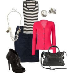 Polyvore - Stripes, pink and black, created by jessebabe98