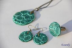 Hey, I found this really awesome Etsy listing at https://www.etsy.com/listing/185702994/polymer-clay-jewelry-set-turquoise