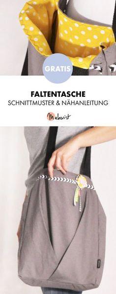 Gratis Anleitung: Umhängetasche mit Falten nähen - Schnittmuster und Nähanleitung via Makerist.de