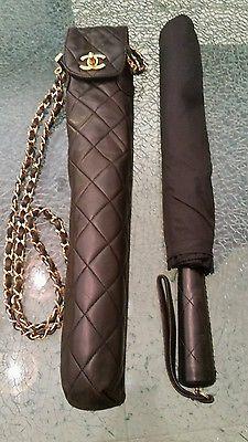 Auth CHANEL Vintage Quilted CC Chain Shoulder Bag Folding Umbrella Black M11484