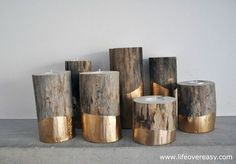 Simple Winter Wedding DIY Projects // Gold-dipped Log Candle Holder // see you - Decoration Trends Diy Candles, Tea Light Candles, Tea Lights, Gold Candles, Handmade Candles, Scented Candles, Gold Diy, Velas Diy, Logs
