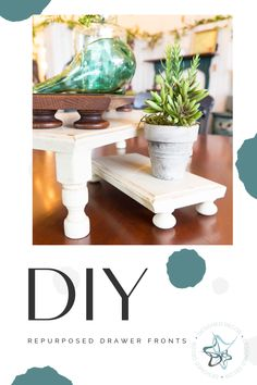 This is an easy home decor DIY that anyone can do. No power tools needed. Turn old kitchen drawer fronts into display risers. Thrift Store Furniture, Refurbished Furniture, Diy Furniture, Furniture Refinishing, Repurposed Furniture, Diy Home Decor Projects, Easy Home Decor, Decor Ideas, Diy Ideas