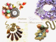 Hand-made autumn jewelry selection (necklaces/watch/earrings) Fall Jewelry, Watch Necklace, Bracelets, Necklaces, Earrings, Handmade, Autumn, Design, Fashion