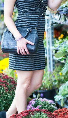 The perfect outfit = Liz Claiborne striped dress + convertible satchel and crystal silver-tone bracelet