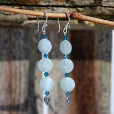 Genuine Aquamarine earrings, aqua Swarovski Crystal earrings, bali silver earrings, blue earrings, aquamarine earrings, march birthstone - pinned by pin4etsy.com