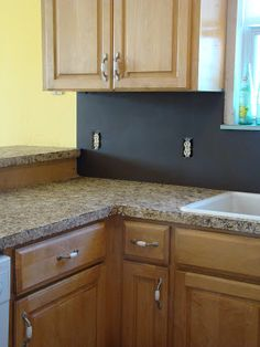 How to paint laminate counter tops to look like granite/stone.