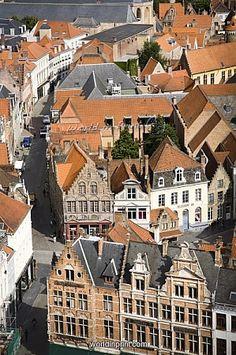 Aerial view of medieval city of Bruges, UNESCO World Heritage Site, Belgium