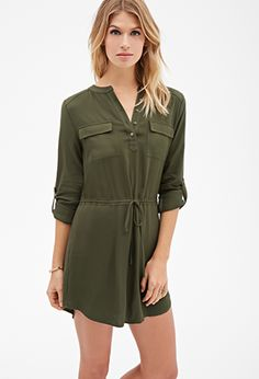 Green Drawstring Cargo Loose Fit Tie Waist Mini Dress   FOREVER21 - 2000099590 $25
