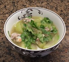 Canh Bau Recipe - Opo Squash Vietnamese Soup Recipe - Writing With Chopsticks - Mom& 52 Vietnamese Recipes Vietnamese Soup, Vietnamese Cuisine, Vietnamese Recipes, Asian Recipes, Ethnic Recipes, Vietnamese Writing, Asian Foods, Chinese Recipes, Cooking