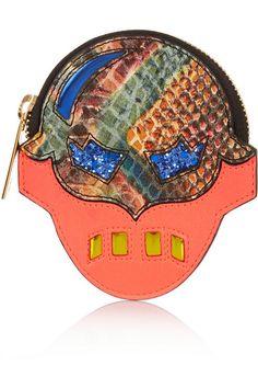 Stella McCartney|Superhero snake-effect faux leather coin wallet|NET-A-PORTER.COM #wallet #stellamccartney #designer #covetme