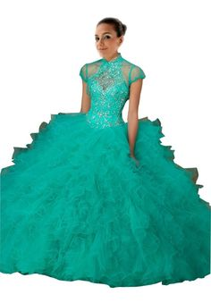 Mollybridal Ruffled Quinceanera Dresses Ball Gown High Neck Keyhole Back Crystal Mint 16. Stunning Beaded Sequined Tulle Ball Gowns For Girls. Long Rhinestones Bling Designer Quinceanera Dress Prom Dresses Gowns. SIZE COLOE:Please read the OUR SIZE CHART image on the left carefully before you order the dress from us,All our dresses are Made-To-Order. Please send us your measurments (bust, waist, hips, height without shoes ,heel height and color )after you place an order. It will be most...