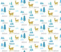 Meadow Deer -blue multi-personalized JACKSON fabric by drapestudio on Spoonflower - custom fabric