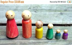 SALE Waldorf Toy Family, 6 LARGE Rainbow Peg People, Waldorf Dollhouse Family