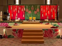 Traditional colours - Traditional decoration with colourful backdrop… - Engagement Stage Decoration, Wedding Reception Backdrop, Marriage Decoration, Desi Wedding Decor, Wedding Hall Decorations, Backdrop Decorations, Entrance Decor, Event Decor, Mumbai