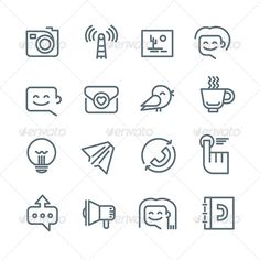 Communication and Networking Icons by koctia Modern line style icons of social media, communication and networking for web, mobile application and print design. Pixel perfect
