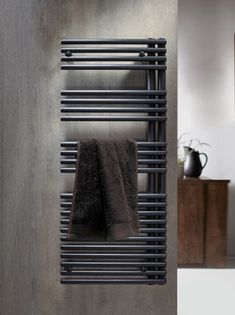 Redroom Omnia Anthracite LH Designer Towel Radiator - 1161 x Bathroom Towel Radiators, Home Radiators, Towel Rack Bathroom, Towel Racks, Bathroom Renos, Bathroom Remodeling, Bathroom Storage, Bookcase Wall, Amigurumi