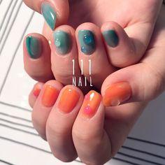 ⚪️◻️⬜️▫️⚪️ #nail#art#nailart#ネイル#ネイルアート#アシメカラー#green#orange#kawaii#candycolor#プルプル#水滴ネイル#ショートネイル#ネイルサロン#nailsalon#表参道#アシメ111#green111#orange111 (111nail)