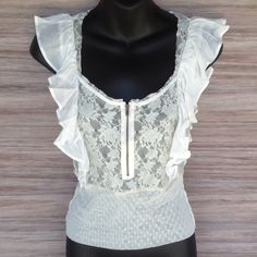 Free People Lace Zip up top Cream color. Perfect condition! Free People Tops