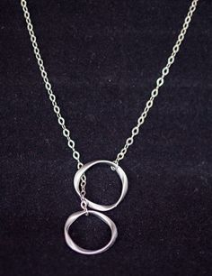 Silver Ring Lariat Necklace