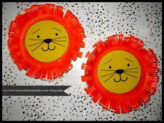 - Aujourd'hui réalisation d'un lion a partir d'une assiette en carton, encore une fois une réalisation très facile même pour les plus petits, il suffit de peindre l'assiette ici en orange(photo 2), puis coller son visage imprimé en couleur jaune(photo...