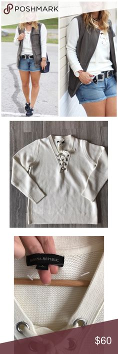 NWOT Banana Republic Lace Up Pullover New without tags. Note: There is a small mark through label ( not noticeable ) and a light blue mark on lower right on the side. Item has never been cleaned so may come out completely. Coverphoto from blog something about that. Banana Republic Sweaters
