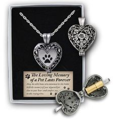 In-Loving-Memory-Paw-Print-Heart-Locket-W-Ash-Holder-On-24-Chain-Gift-Boxed