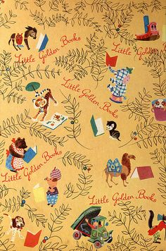 Golden Book inside cover - loved looking at these pictures on the inside covers. I remember sitting with my little brother, then years later with my babies in my lap as they pointed to each figure, learning to talk and naming each one on their little golden books.