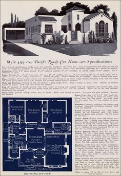 1925 Pacific Ready Cut - No. 499: These guys had a penchant for screened porches. This model is 2 bedrooms, 1.5 baths, a maids' room and a breakfast nook.
