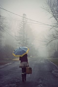 umbrella, coming home, path, keep walking, the road, feelings, rain, suitcas, photo art