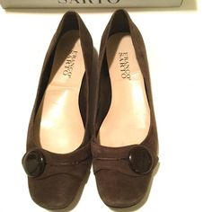 """Franco Sarto Brown Suede Ballet Flats, Size 6.5 Brown suede Franco Sarto """"L-Card-Tmoro"""" ballet flat with button detail.  Size 6.5.  Good condition, with some minimal wear around heels.  Inside sole insert is loose (where says Franco Sarto) but otherwise still lots of life left as can't tell when wearing.  stored in original box which is included. Franco Sarto Shoes Flats & Loafers"""