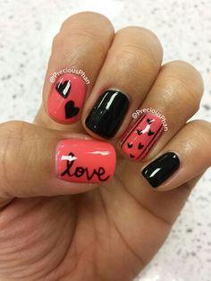Love, Valentine day nails