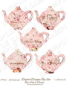 Pretty Teapots Printable Digital Collage Sheet  INSTANT DOWNLOAD    estimated size is 3x4 inch each  will Print out in an 8.5 x 11 sheet  JPEG