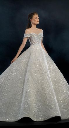 Wedding Dresses Ball Gown Glamour Naja Saade Couture 2019 Wedding Dresses - Starlight 2019 Bridal Collection - Off the shoulder wedding dress with loyal train Couture Wedding Gowns, Dream Wedding Dresses, Wedding Dress Styles, Bridal Gowns, Ball Dresses, Dream Dress, Bridal Collection, Luxury Wedding, High Fashion