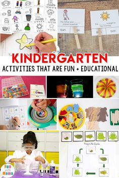 Kindergarten activities that are fun and educational including CVC words, homophones, science experiments for kindergarteners, life cycle , art and more! Kids Learning Activities, Educational Activities, Toddler Activities, Montessori Activities, Learning Games, Winter Activities, Science Activities, Kindergarten Activities, Preschool Ideas
