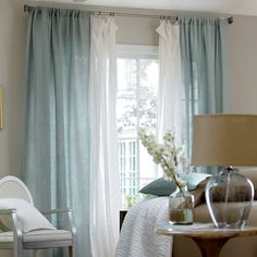 Ivory lace and colonial blue curtains Light Blue Curtains, Blue Curtains Living Room, Layered Curtains, Bedroom Windows, New Living Room, Living Room Decor, Bedroom Decor, Sheer Curtains Bedroom, Bedroom Ideas