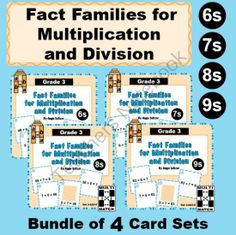 Multi-Match Cards: Multiplication and Division Fact Families for 6s, 7s, 8s, 9s from K-8 MathPaths on TeachersNotebook.com -  (36 pages)  - This bundled product contains four different sets of cards for practice with multiplication and division fact families for 6s, 7s, 8s, and 9s.