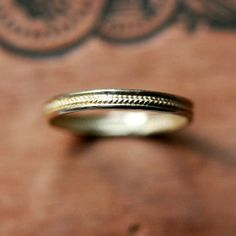 Gold wedding band - tiny braid - recycled 14k yellow gold - wedding ring - 2.5mm - tiny wheat band - made to order