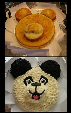 """Panda cake using one 9"""" round, three 4"""" rounds, and piped buttercream."""