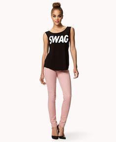 Double Pocket Skinny Jeans | FOREVER21 #ColoredDenim #Swag #Graphic #OOTD