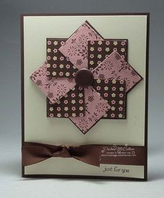 handmade greeting card .... pinwheel medallion design ... small print and layers evoke a quilt pattern ... photo tutorial on the blog ... luv the look of pink with chocolate and vanilla ... delightful card! ... Stampin' Up! #scrapbookideas